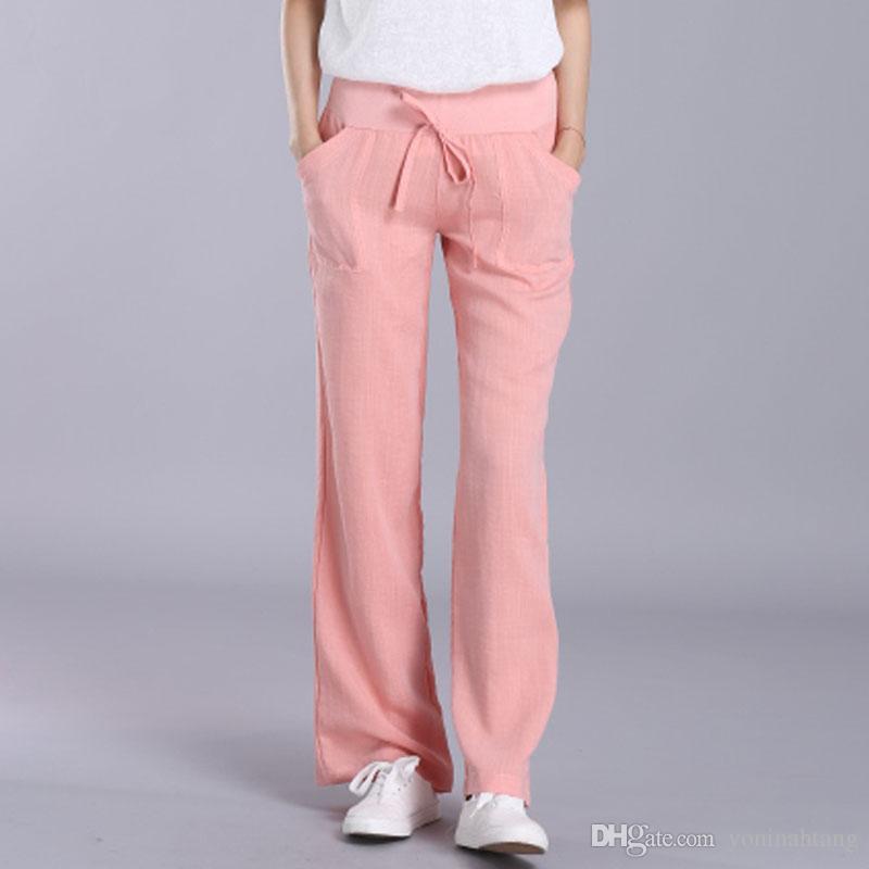 Wide Leg Pants Women White Cotton Linen pants Plus Size Long Casual Drawstring harem Trousers Loose summer pantalon femme