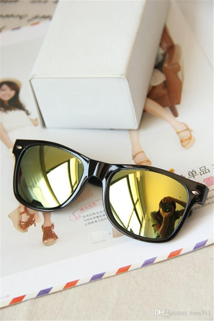 Прибытие мода женские солнцезащитные очки плоский объектив зеркало металлический каркас лягушка зеркало солнцезащитные очки бесплатная доставка CA163