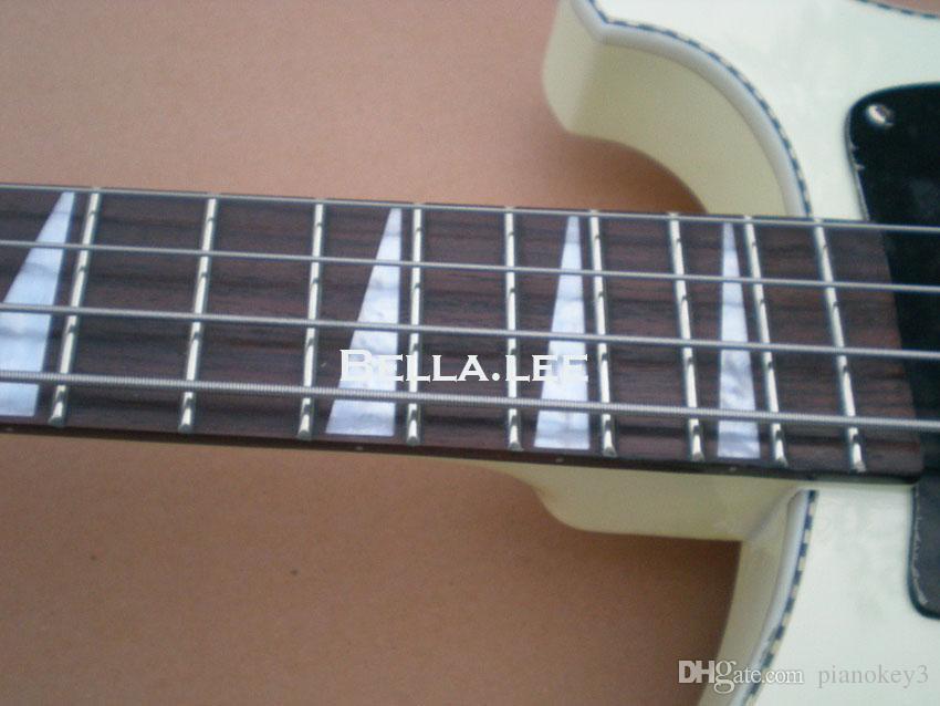 화이트 색상 4 현베이스 기타, OEM 수제 중국베이스 기타, 무료 배송