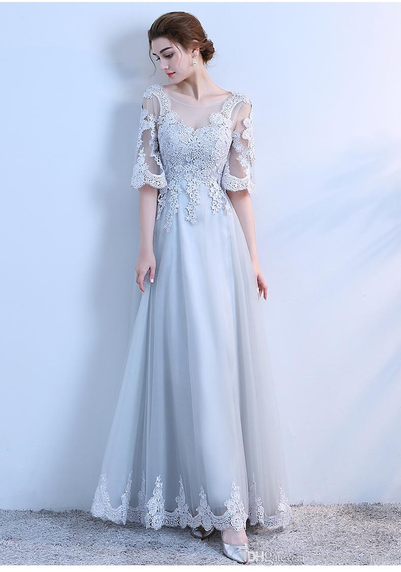 In Stock Medium Sleeves Lace Long Evening Dresses Autumn Winter ...