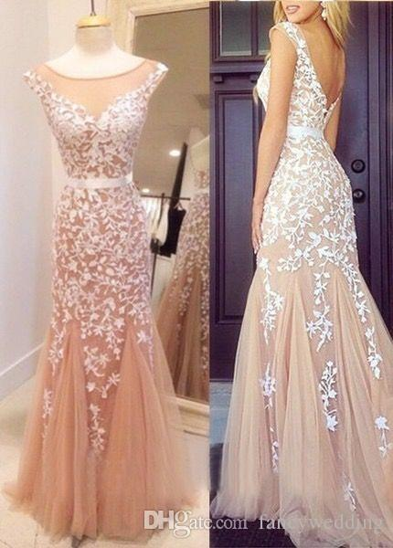 Elegent Scoop Tulle Applique Vintage Prom Dresses Sexy Backless Sweety Sleeveless Mermaid Zipper Beatiful Evening Gowns
