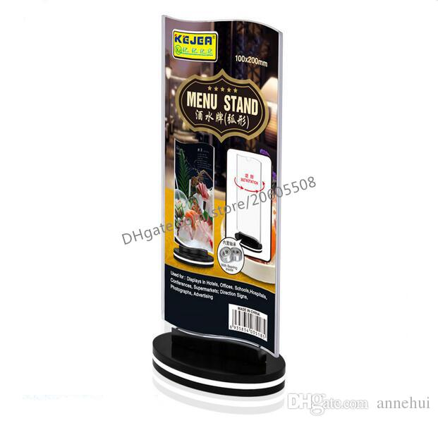 Wholesale Rotatable acrylic restaurant Bar menu card display stand Advertising tag sign card double-sided display Desktop Billboard
