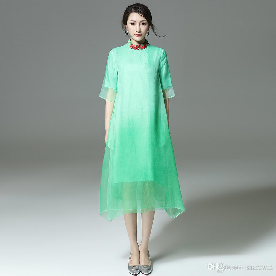 women collar drawing beads silk organza dress short sleeve o neck fake two pieces a line dresses plus sizes oem wholesale accepted from sharewin
