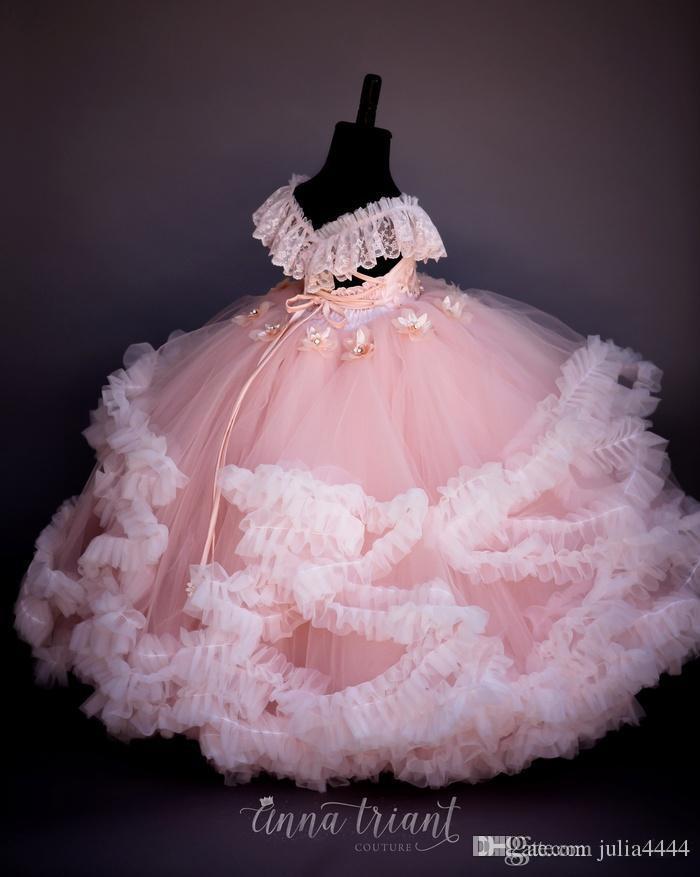 Vintage erröten wirkliches Bild Blumen-Mädchen kleidet wulstiges handgemachtes Kleinkindkind Blumen-Kommunions-Kleid schnüren sich oben Ball-Kleider für Kinder