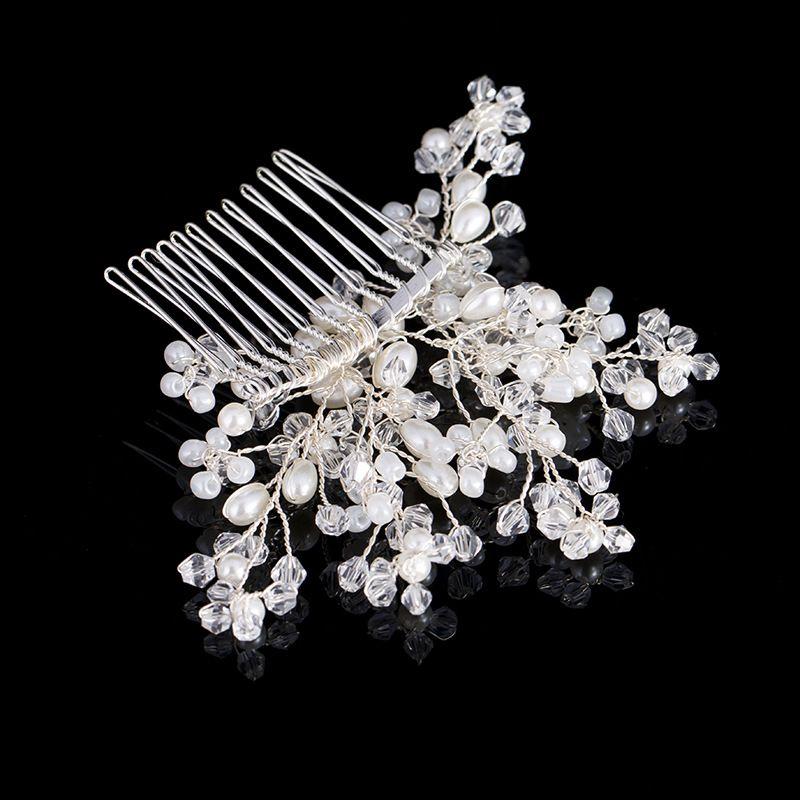Bridal Tiara Hair Combs 2017 Nuova perla di cristallo Accessori capelli da sposa Posticci le donne Gioielli capelli fatti a mano Headwear