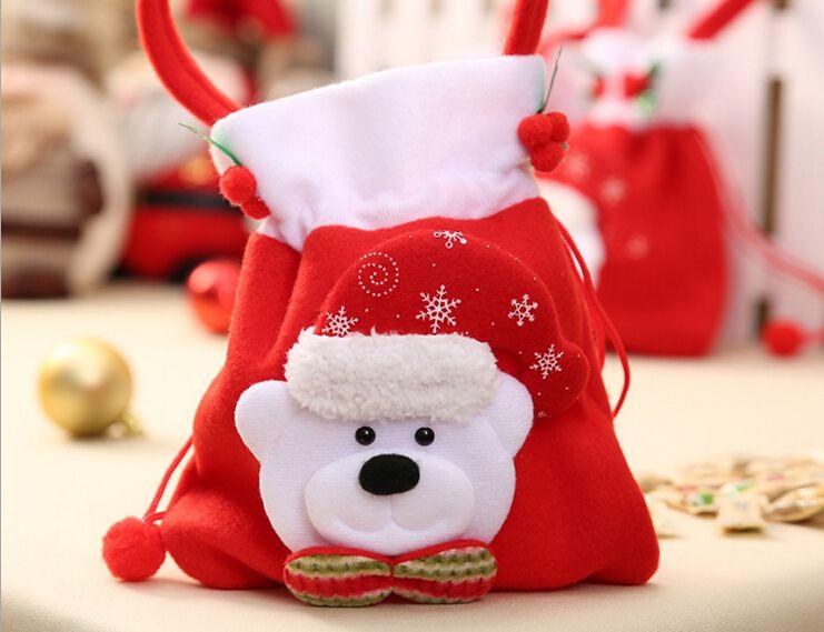 Быстрый корабль мода Рождественский подарок Санта стиль рождественские украшения Рождество свадебные конфеты сумки прекрасные подарки Рождество сумка для детей