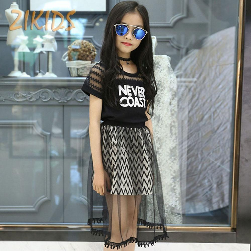0ae2ca319a1 2019 Wholesale Girls Clothing Sets T Shirts+Mesh Skirts Teenage Casual  Letter Lace Summer Dress Girl Brands Kids Clothes Sets For Party 2016 From  Beasy