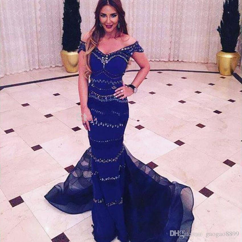 Индийские вечерние платья длинные 2019 темно-королевский синий с плеча бисером женщины вечерние платья русалка выпускного вечера вечернее платье vestido indiano
