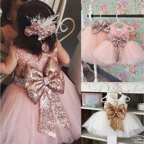 Retail Baby Meisjes Pailletten Grote Strik Prinses Jurken Kinderen Mouwloze Backless Kant Prom Party Trouwjurken Kinderkleding Kleding
