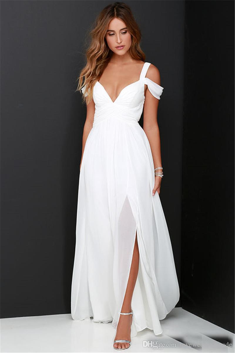 Discount cheaper simple white chiffon beach wedding dresses 2017 discount cheaper simple white chiffon beach wedding dresses 2017 floor length side split off shoulder ladies long bridal party gown wedding dresses by junglespirit Images