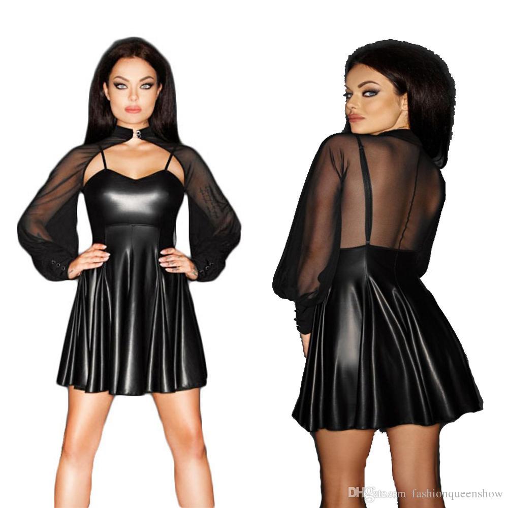 Stylish Sexy Mesh Cloak Sleeve Mini Dress Low Cut Transparent Clubwear Wetlook Faux Leather Vestido Exotic Party Costume