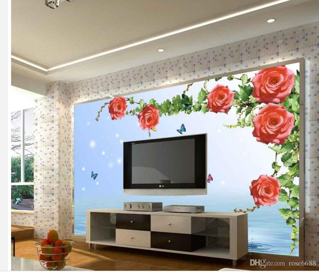Compre Home Decor Living Room Arte Natural 3d Rosa Flor Mural 3d