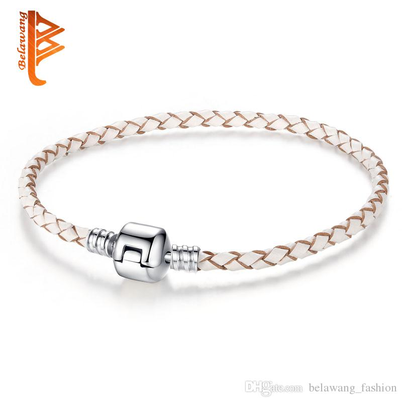 4e7c87cd0 BELAWANG Nude White Color Simple Silver Plated Clasp Genuine Leather  Bracelet For Women Men Original Charm Bracelet Bangles DIY Bead Jewelry  Charms For ...