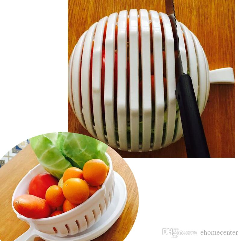 Salad Cutter Bowl 60 Second Easy DIY Salad Fruit Vegetable Washer Cutter lazy Salad Bowl Cutter Strainer Retail box HQ011