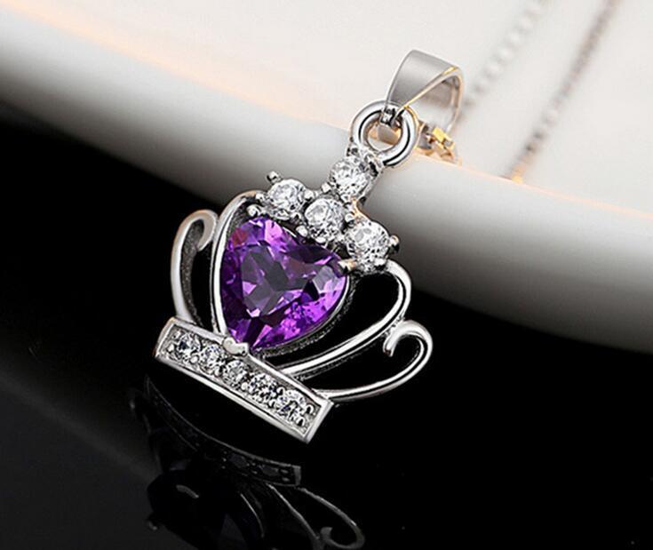 Neue Ankunfts-925 Sterling Silber Schmuck österreichischen Kristall Crown Hochzeit Anhänger Lila / Silber Wasser Welle Halskette geben Verschiffen frei