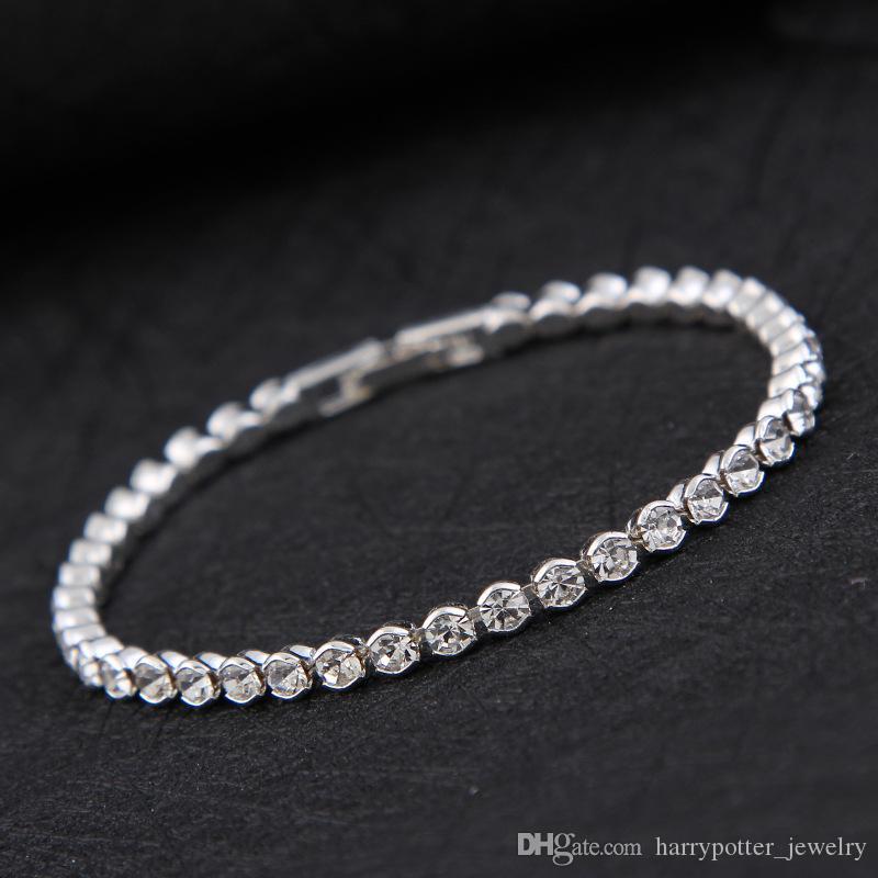 New Simple Diamond Crystal Bracelet Silver Gold Plated Bracelet ... 0cfc4a43ceb0