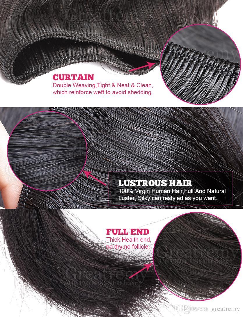 Greatremy® 100% Indiase haar weefsel inslag 4 stks bundels + kant sluiting menselijke hairextension virgin hairsilky rechte natuurlijke kleur