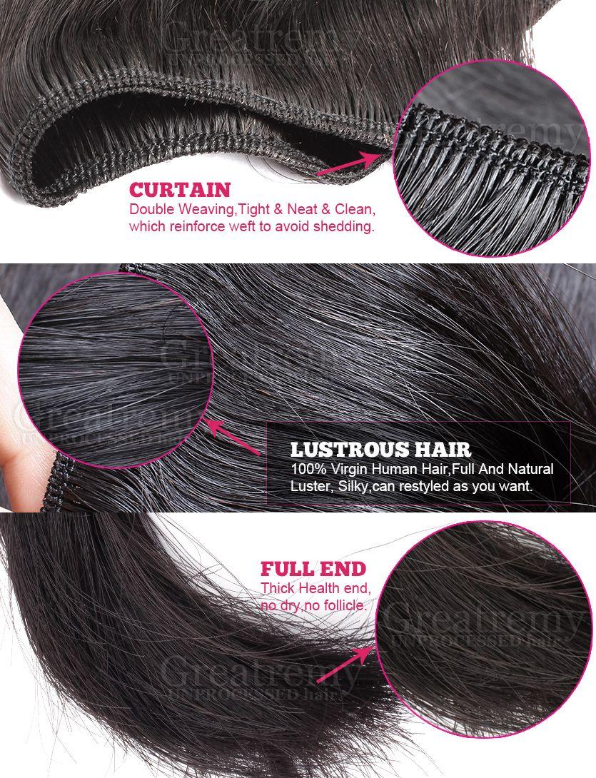 Greatremy®/ロットインドのヘアエクステンション染め可能な人間の髪の緯糸織りのない未処理のバージンシルキーストレート