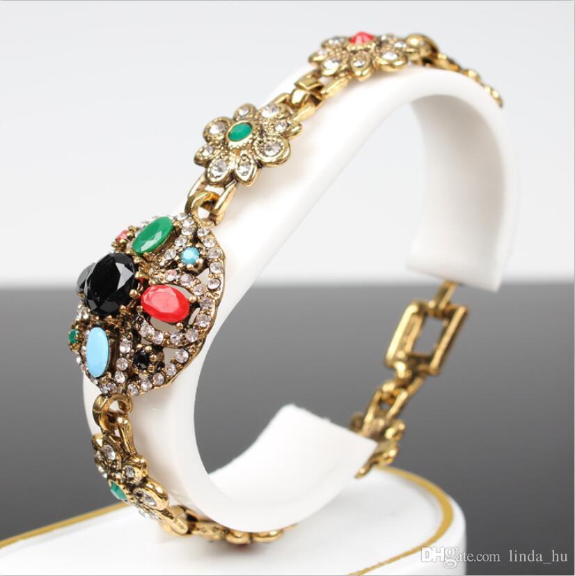 European version of the bracelet jewelry wholesale four - leaf flower shape bracelet diamond gemstone resin Yunnan national wind jewelry