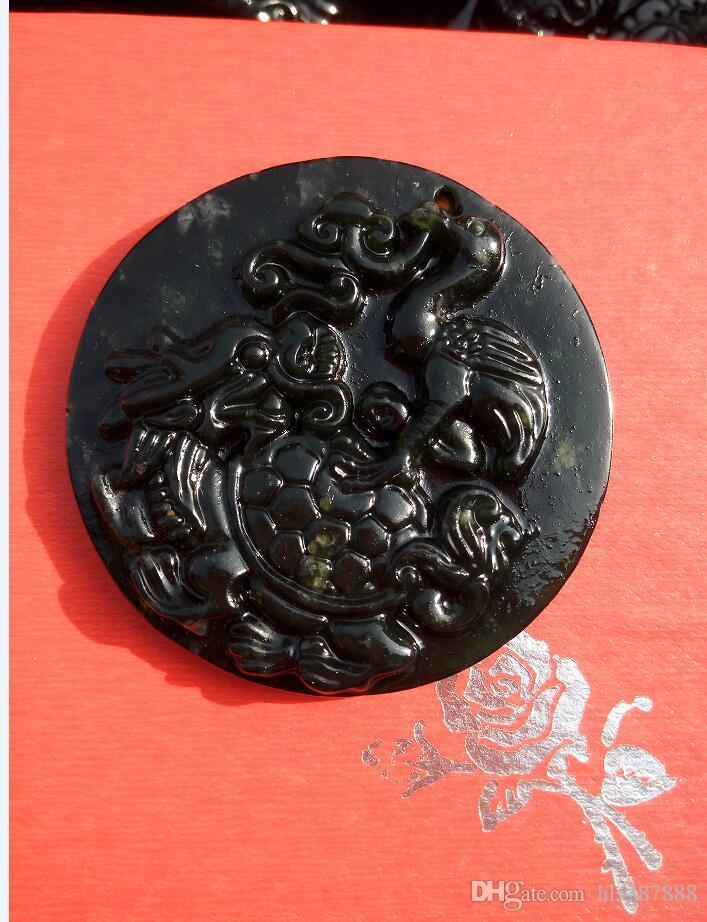 Jade vert foncé rond Chine dragon tortue grue paix pendentif D11