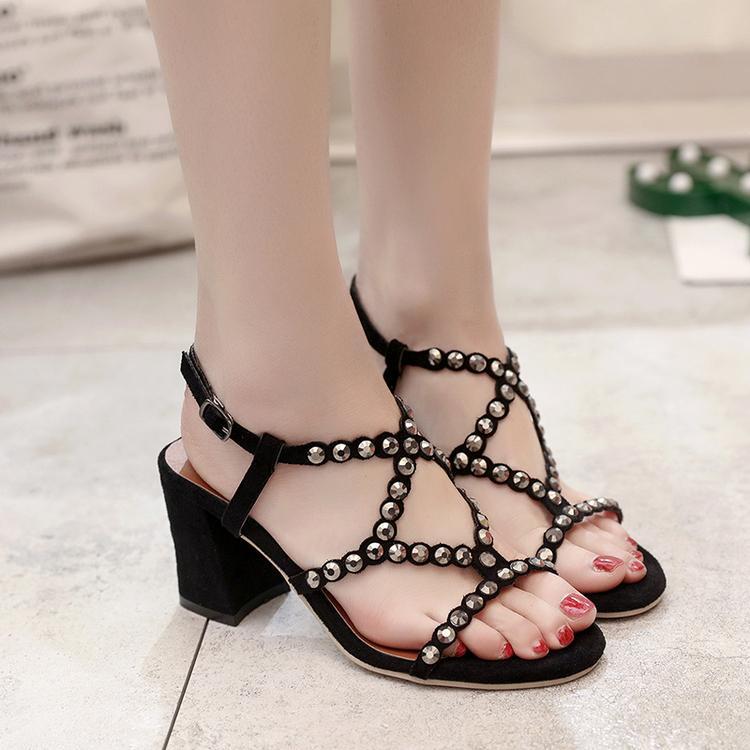 Womens Rivet Roman Sandals Buckle Strap Hidden Wedge Creepers Shoes Black US8