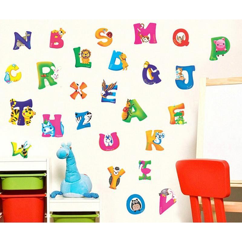 A-Z Alphabet Animaux Autocollant Murale Amovible Enfant Pépinière Bébé Décalque Décor