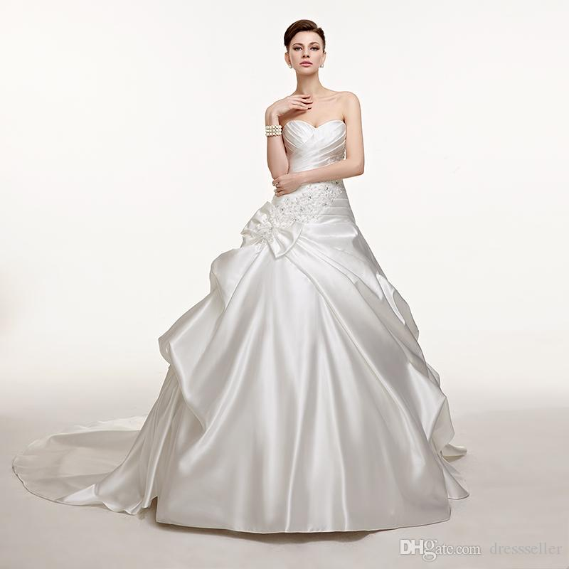 Discount 2018 Satin Floral Bridal Gown Neckline With Beading And ...