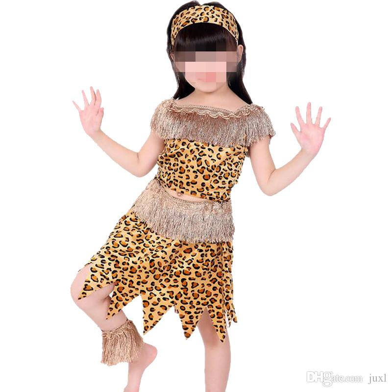 2017 New Boys Girls African Original Indian Savage Costume Adults Kids Wild Cosplay Costumes Halloween Carnival Fancy Dress Supplies