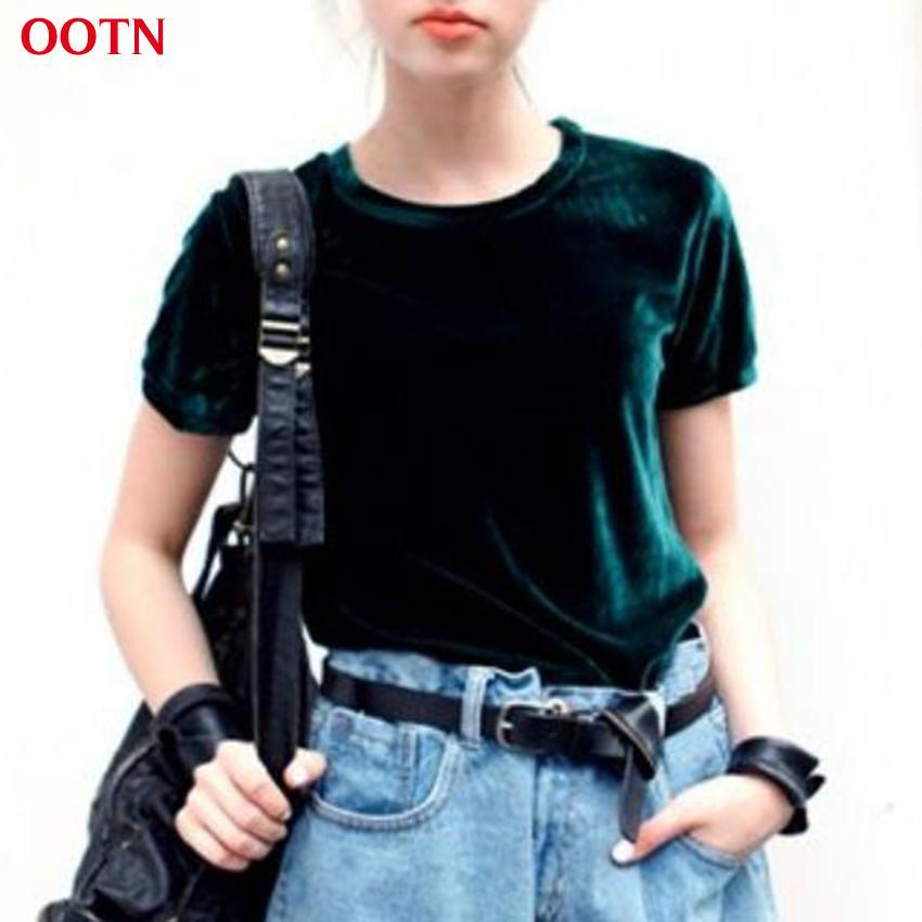 f3e3ca5d644 Wholesale OOTN O Neck Short Sleeve Dark Green Women T Shirt Silk Velvet T  Shirts Office Clothing Shirt Ladies Tops Summer Autumn Tee Black Shirts  Long ...