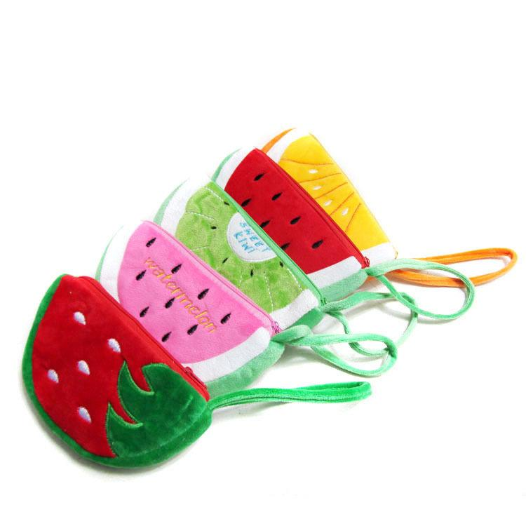 fruit Purses 5 styles New Plush Cartoon Coin Purses strawberry watermelon orange Purse Coin Bags Earphone Bags moblie phone bag