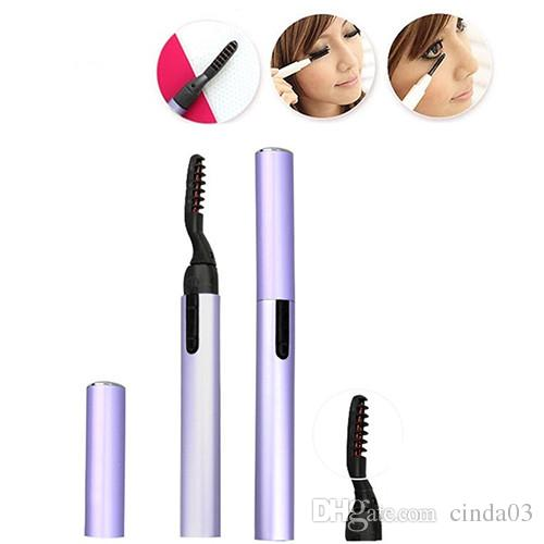 Wholesale- New Mini Pen Style Electric Heated Eyelash Eye Lashes Curler Long Lasting Makeup Kit