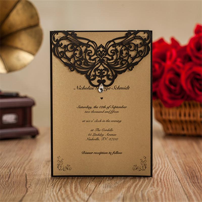 wedding decoration with gemstone invitation card with laser cut