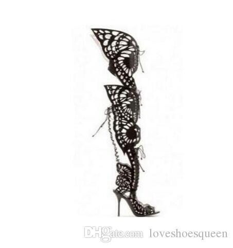 femmes sexy sur le genou haute sandales gladiateur papillon chaussures cuisse bottes hautes talons peep toe
