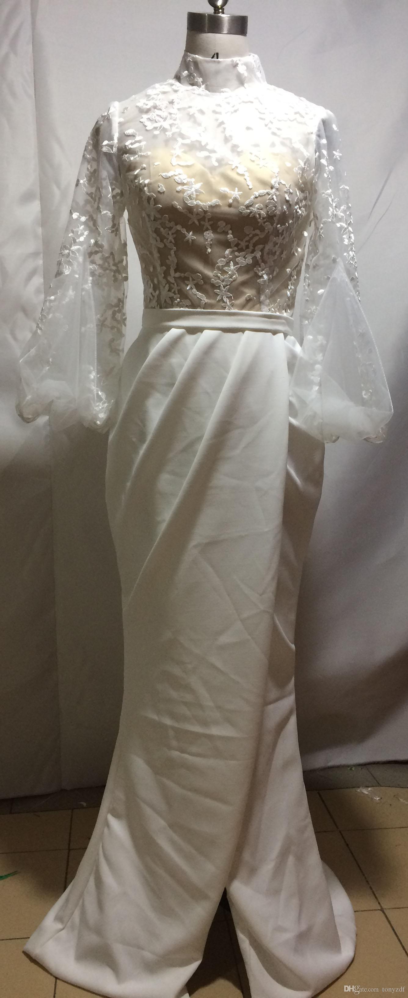 Moda avorio alto colletto in pizzo corpetto a maniche lunghe a maniche lunghe a maniche lunghe a maniche lunghe a maniche lunghe
