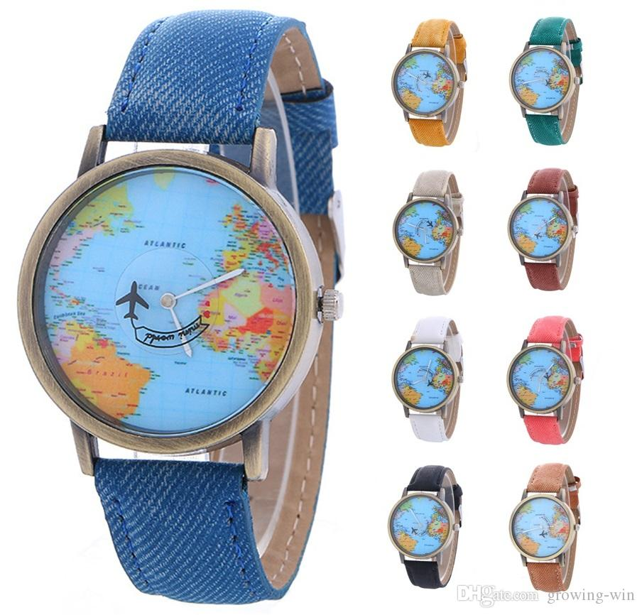 denim watches leather com women dp map watch by wrist global amazon travel world dress plane band fabric ae inkach