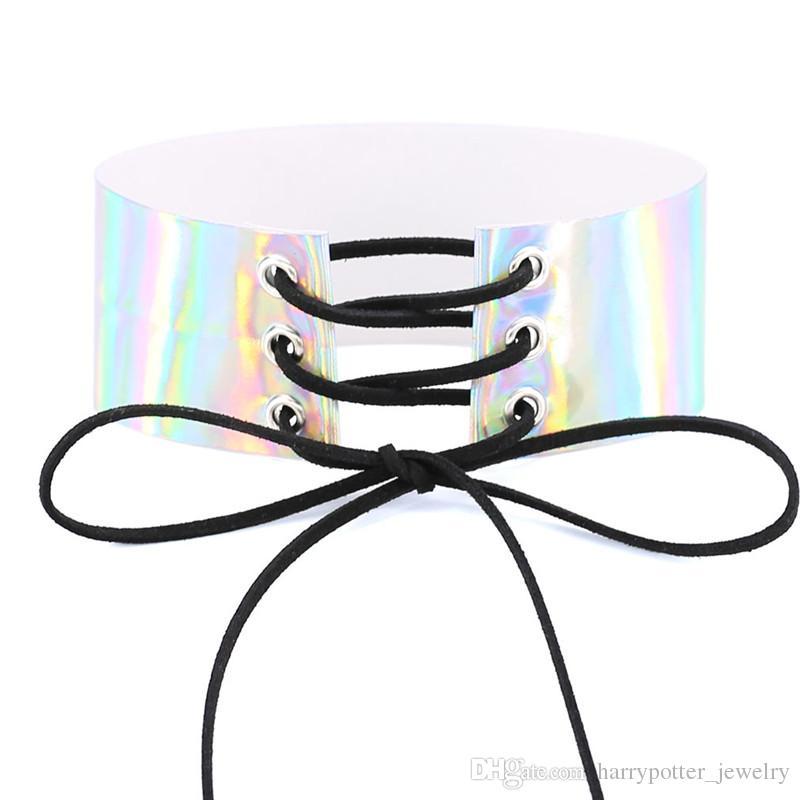 Lace Up Wide Chokers Rainbow Maxi Gargantilla Collar Gothic Harness Anime Laser Corset PU Collar de cuero Chocker Collares barco de la gota