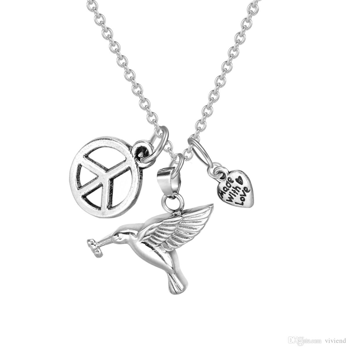 Cremation Jewelry Memorial Ash Keepsake Pendant Hummingbird with Heart&Peace Symbol Charm Urn Necklace with Gift Bag