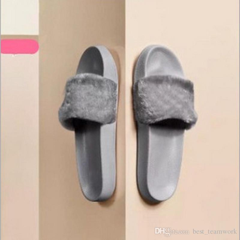 Leadcat Fenty Rihanna Schuhe Frauen Hausschuhe Indoor Sandalen Mädchen Mode Scuffs Rosa Schwarz Weiß Grau Fell Folien Ohne Box Hohe Qualität