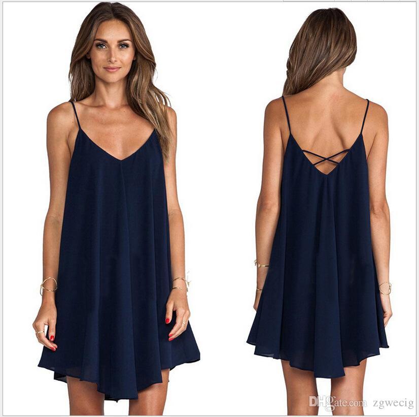 6217c1b2a0b5b Satın Al Yeni Moda Seksi Günlük Elbiseler Kadın Yaz Kolsuz Akşam Parti Plaj  Elbise Kısa Şifon Mini Elbise BOHO Bayan Giyim Elbise, $5.03 | DHgate.Com'da