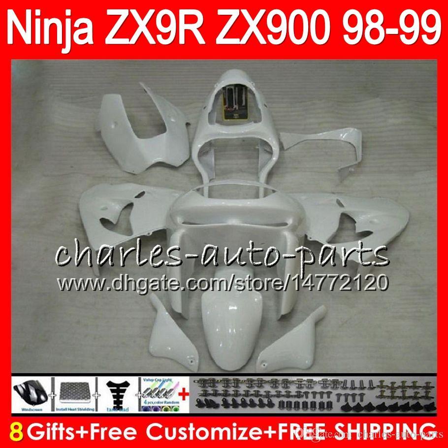 KAWASAKI ZX900의 ZX9R 98 99 00 01 900CC 48HM15 광택 흰색 ZX9R ZX 9 R ZX900C ZX 9R 1998 1999 2000 2001 페어링 키트 8Gifts