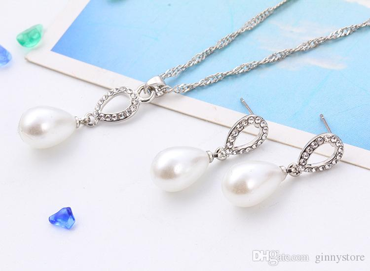 New Bridal Earrings Necklaces Sets Diamond Pearl Crystal Drops Felegant Jewelry Hot Style Pendant Crystal Necklace Women'S Jewelry Sets