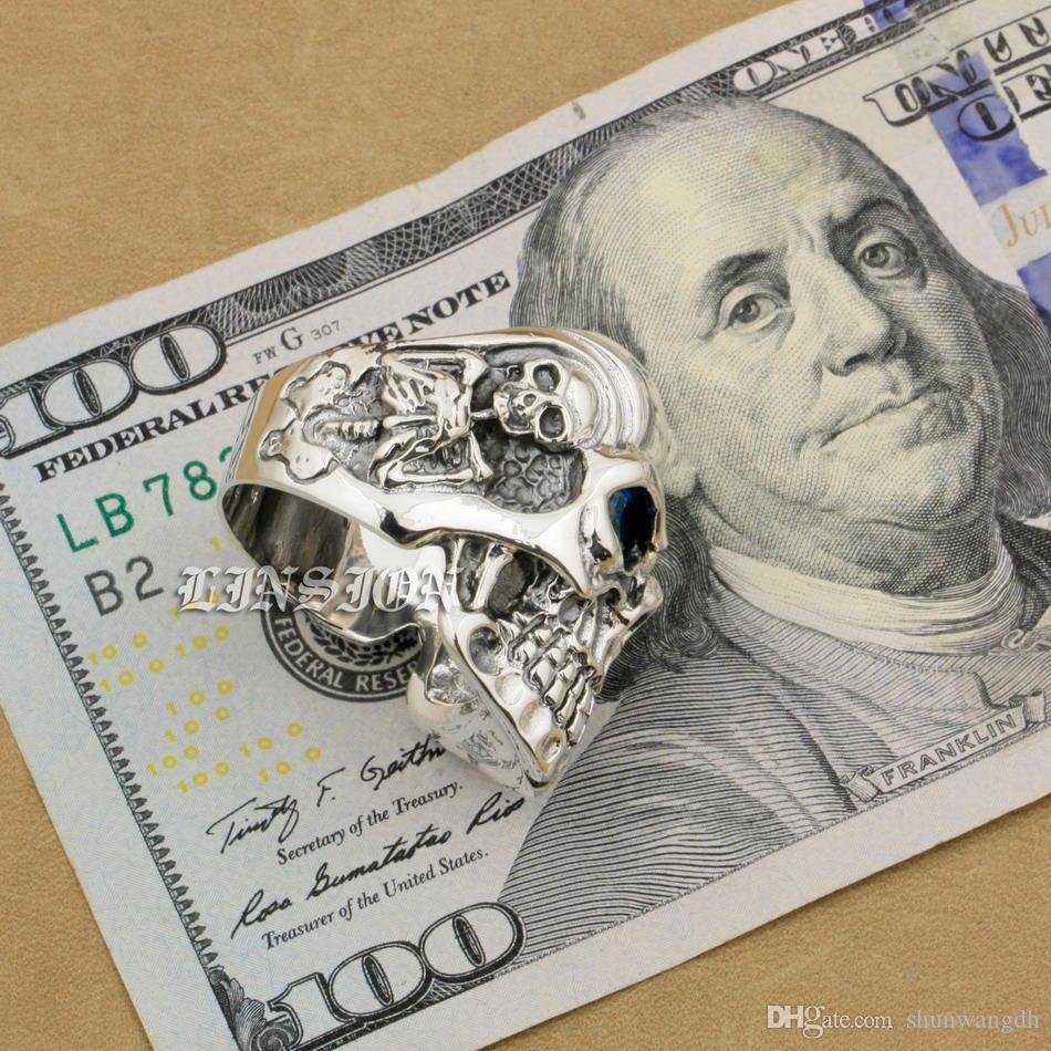 LINSION Argento 925 Titan Skull Blue CZ Stone Eyes Uomo Biker Punk Ring sterling-argento-gioielli 8V305 Formato USA 7 ~ 15