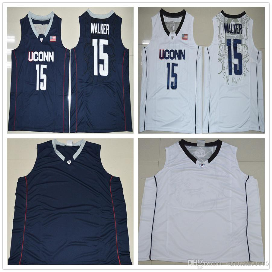 f3f24b8a7e85 ... 2017 Personalized Men Uconn Huskies 15 Kemba Walker Navy Blue White College  Basketball Jerseys Stitched Size ...