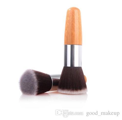 Pro Flat Top Buffer Bamboo Wooden Liquid Foundation/Powder/Bronzer Makeup Brush