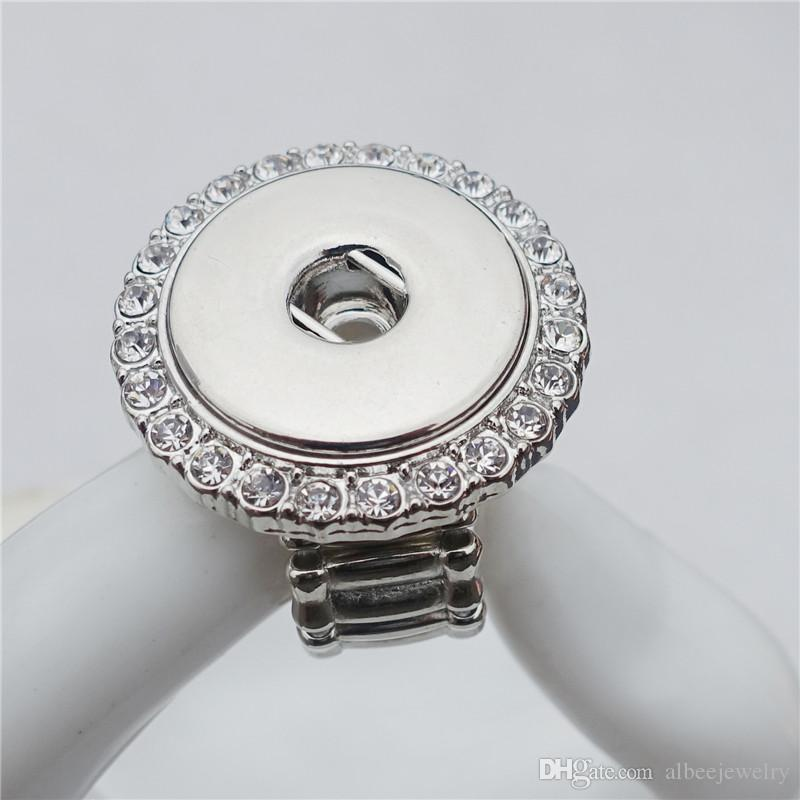 Moda elastica regolabile dimensione strass di cristallo Noosa pezzi metallo zenzero 18mm bottoni automatici anello gioielli all'ingrosso