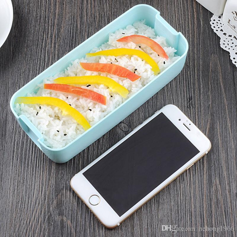 Lunch Box Environment Protection Student Three Layers Lattice Plastic Bento Boxes Candy Colored Square Microwave Oven Tableware 10jh E1