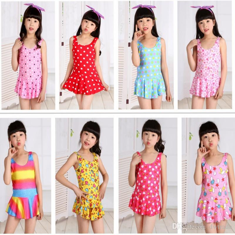 Kids girls swimwear hot selling lovely printing one-pieces bathing clothing children swimsuits high quality cheap price factory outlet