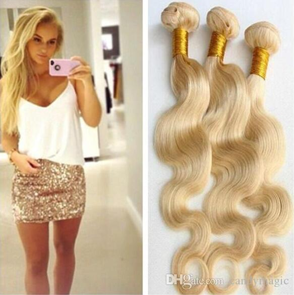 8a Russian Blonde Virgin Hair 100 Unprocessed Virgin Hair Body Wave