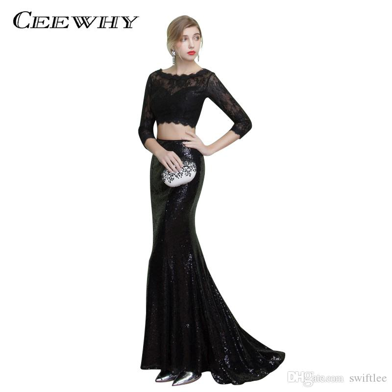 Ceewhy Three Quarter Sleeve Black Lace Dress Two Piece Formal ...