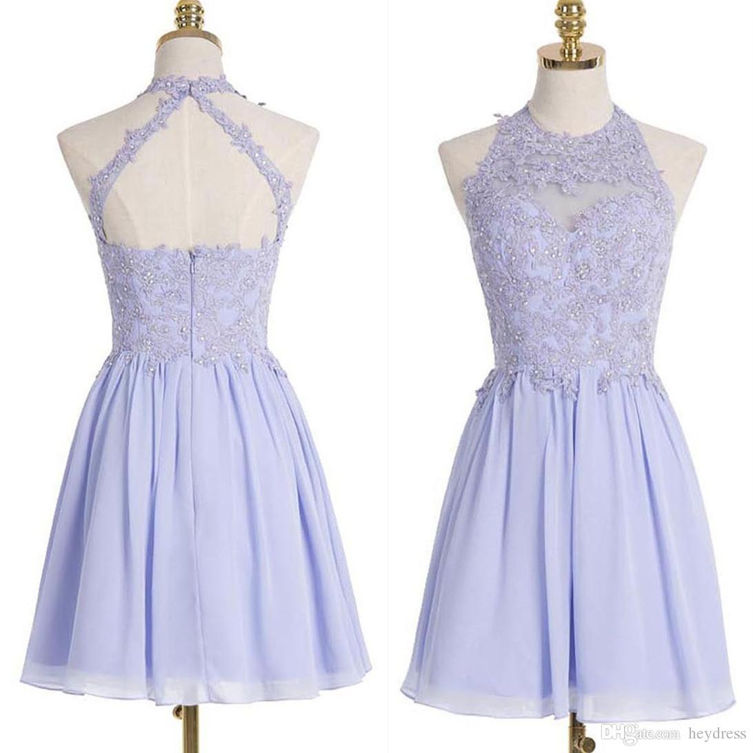 Großhandel Echt Fotos Lavendel Homecoming Kleider 2017 Eine Linie ...